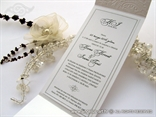white wedding invitation with fringe