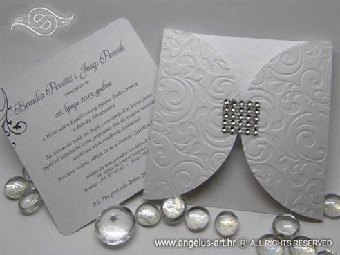 white wedding invitation with zircons