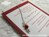 Pozivnica za vjenčanje Red Pearl Charm