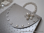 silver greeting card in a form of a purse