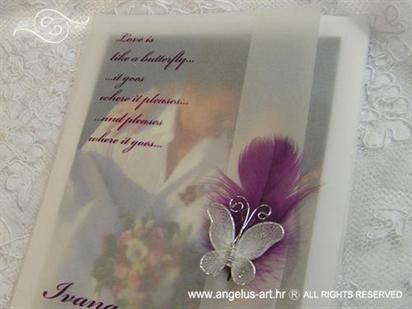 ciklama zahvalnica za vjenčanje s leptirom i ljubičastim perom