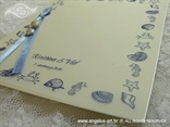 detalj plave zahvalnice s tiskom morskog motiva