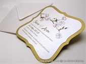 Wedding invitation - Golden Flower Shape