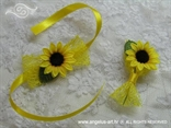 kitica i narukvica za vjenčanje sa suncokretom i žutom mrežom