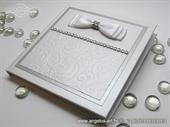 Wedding rings pad - Silver & White Shine