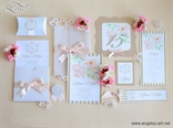 coral wedding invitation