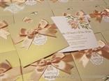 cream godl peach wedding invitaition