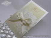 Wedding invitation cream gold champagne bow