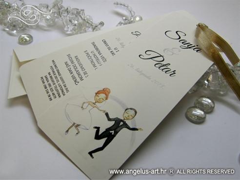 krem pozivnica za vjencanje u obliku bookmarkera