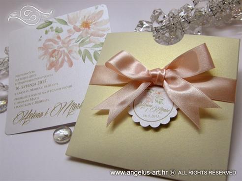 golden cream wedding invitation