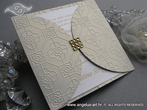 cream and gold wedding invitation with zircons