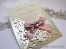 laser cut wedding invitation with satin bow
