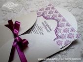 Pozivnica za vjenčanje Purple Damask Mini Beauty