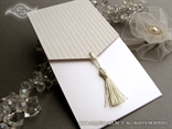 luxury white wedding invitation with fringe
