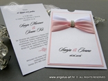 luksuzna pozivnica sa brosem bijelo puder roza