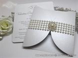 modern wedding invitation with pearls