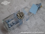 blue invitation for baptism in a bottle with a silver angel