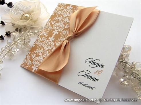 peach bow wedding invitation