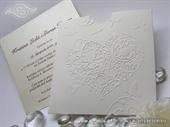 Wedding invitation - White Heart Charm