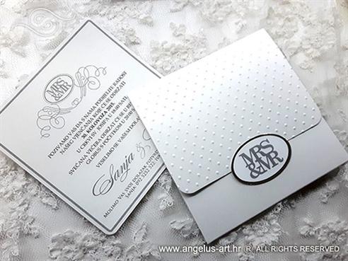 wedding invitation silver MRS&MR MR&MRS