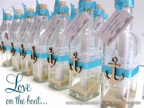 pozivnice u flasci morske pozivnice sa sidrom tirkizne
