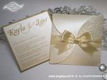 šampanj pozivnica za vjenčanje s bež satenskom mašnom u omotnici na rasklapanje