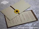 smeđa pozivnica za vjenčanje sa suncokretom i 3D tiskom
