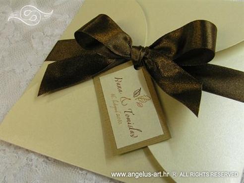 smede krem natural pozivnica za vjencanje sa satenskom trakom 1402