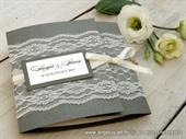 Wedding invitation-Dark Silver Lace Classic