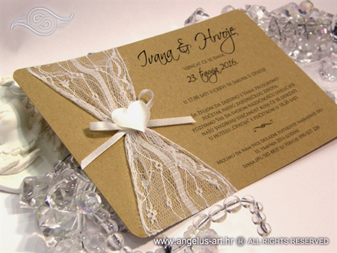 vintage wedding nivitation with lace and heart