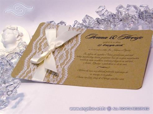 vintage retro lace wedding invitation with cream bow