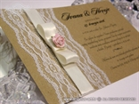 vintage retro wedding invitation with rose and lace