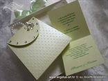 greeting card in a form of a green purse with zircons