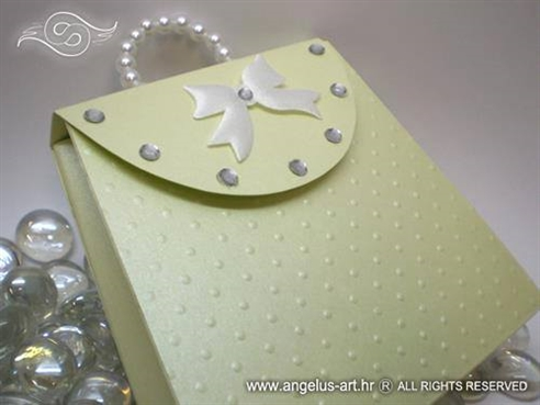 greeting card in a form of a green purse
