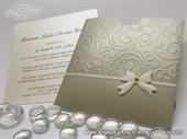 Wedding invitation - Gold Bow Charm